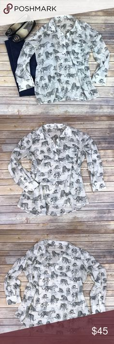 Women's Pleione sheer Tiger print top, size Large Women's Pleione Blouse. Size Large. 100% polyester. Sheer white with black tigers on Blouse. Awesome statement piece! No stains or tears. Pleione Tops Blouses