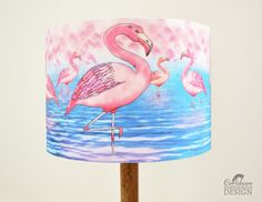 Flamingo Fabric Lampshade Illustrated Lamp Shade by ceridwenDESIGN