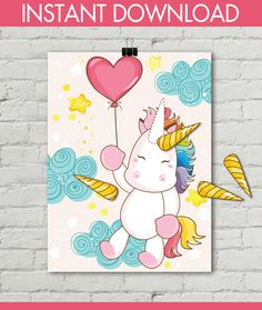 Unicorn Party Pin the Horn on the Unicorn Game Magical