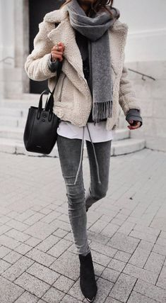 60d8e9f2839c street style inspiration   jacket scarf skinny jeans bag boots sweater  Pinner fashion  world