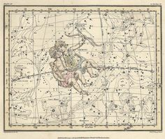 Constellation of the Gemini, Galaxy, Antique map of the Moon, Antique world maps, ancient maps, 68