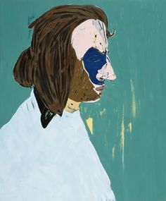 Nicola Tyson, Bearded Artist, 2005, Oil and charcoal on linen, 58 x 48 inches