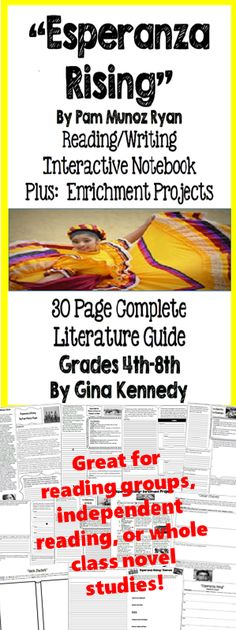 """No-Prep novel study for """"Esperanza Rising"""", a standards based interactive… Reading Groups, Reading Skills, Teaching Reading, Guided Reading, Inspirational Classroom Quotes, Esperanza Rising, Interactive Writing Notebook, Social Studies Projects, Teaching 5th Grade"""