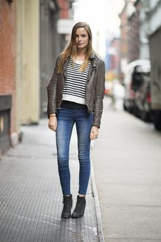 85 Street Snaps to Inspire Your Most Stylish Fall Ever: Stripes and leather made an effortlessly cool combo in this everyday look — ankle booties were the perfect finishing touch.  Source: Adam Katz Sinding