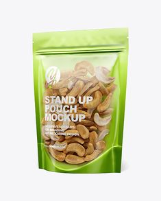 Glossy Transparent Stand-Up Pouch W/ Cashew Nuts Mockup. The pouch available in a plastic and a metallic finishes. Food Packaging, Packaging Design, Creative Words, Stand Up, Mockup, Layers, Objects, Metallic, Pouch