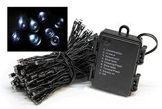 Set of 576 Battery Operated MultiFunction Cool White LED Wide Angle Christmas Lights  Black Wire * You can find more details by visiting the image link.