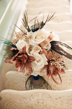 I like the copper in this bouquet; this bouquet is simply just to show the copper Gatsby Wedding, Fall Wedding, Wedding Blog, Dream Wedding, 1930s Wedding, Bronze Wedding, Recycle Your Wedding, Def Not, Peacock Wedding