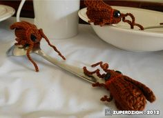 Amigurumi Cockroaches  Still gross, even though they are a mix of knitting and crochet.