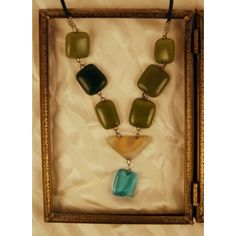 Asymetrical Greens Recycled Glass Necklace