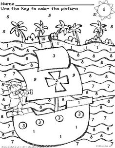 FREE #Columbus Day Fun: Missing Number Worksheet/Color by N