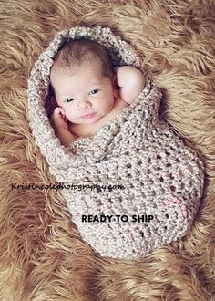 Coccon Newborn Baby wrap Photo prop in BROWNS por Newbabyphoto