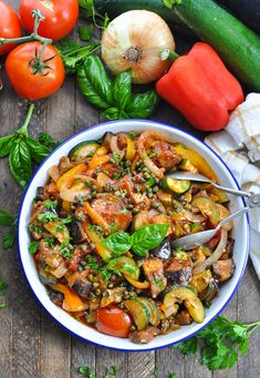 This Dump-and-Bake Ratatouille is an easy and healthy vegetable side dish or vegetarian dinner! Zucchini | Eggplant | Tomatoes #TheSeasonedMom #vegetables #vegetarian #healthyfood #healthydinner #healthyrecipes