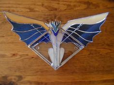 Stained Glass Dragon Box Blue and Tan (Open), This one is a bit different inside. At Jitter Beans in Mineral Wells, TX - $75.00 #StainedGlassBox