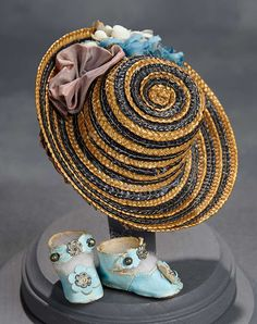 """""""What Finespun Threads"""" - Antique Doll Costumes, 1840-1925 - March 12, 2017: 194 Woven Bi-Color Bonnet with Silk Flowers and Blue Kidskin Shoes"""