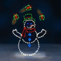 The 5 Foot Animated Juggling Snowman Outdoor Christmas Yard Lawn Decoration Best Christmas Lights, Hanging Christmas Lights, Decorating With Christmas Lights, Christmas Yard, Tacky Christmas, Christmas 2017, Christmas Ornaments, Animated Christmas Decorations, Holiday Decorations