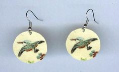 Kingfisher Earrings by design mosaic. Made from polymer clay with surgical steel ear wires. Antique Japanese image. #handmade #jewelry