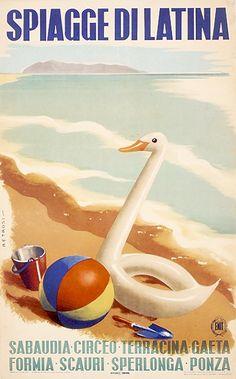 Vintage Travel Poster - Latina Beaches - Italy - 1947.