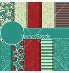 Set of beaautiful paper for scrapbook vector - by yganko on VectorStock®