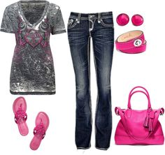 """Casual"" by honeybee20 ❤ liked on Polyvore..without pink bag, braclet, and earrings."