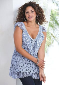 Gorgeous plus size lace-crochet top, diagrams included!