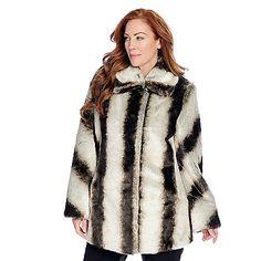 725-509 - Pamela McCoy Faux Fur Chevron Detailed Long Sleeved Hook Front Coat. Shown in Chilean Chinchilla.