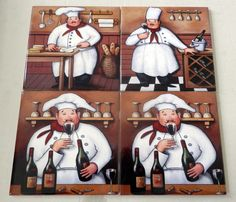 Decorative Wall Tile Murals Bistro  Tile Muralour Decorative Tiles Of Chefs Are Perfect To
