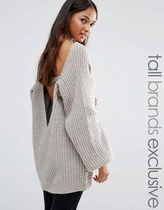 Glamorous Tall Chunky Knit Jumper – Grey. Tall Clothing for tall women at PrettyLong.com