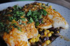 Foil-Baked Tilapia with Black Beans and Corn ~ Fabulously Delicious