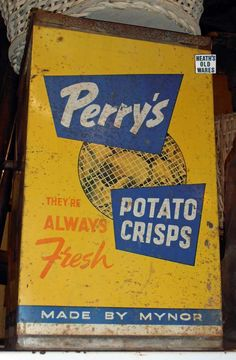 antique perry crisps tin for sale at Heaths old wares collectables and industrial antiques 12 station street bangalow ph 0266872222 Vintage Tins, Vintage Kitchen, Potato Crisps, Back In The Day, Industrial, Canning, Antiques, Ph, Street