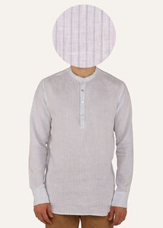 This pinstriped Gheebutter mens shirt is handmade from a super fine linen. Watch it become even softer after each wash. Features mother of pearl buttons & nehru collar. Made in India.  If you are between sizes go for the larger of the two.