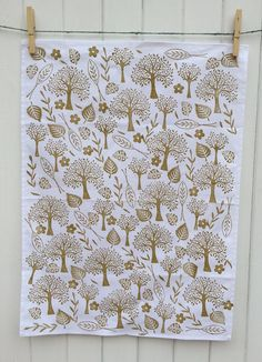 Hand Indian Block Printed Tea Towel Using Trees & Leaves Printing Set
