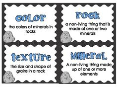 Here's a set of 24 vocabulary terms about rocks. Also includes a student booklet.