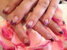 Pink zebra freehand tip nail art
