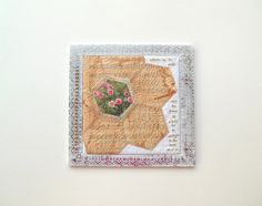 the flower in a field - sashiko stitched, hex quilt, teabag paper, found poetry