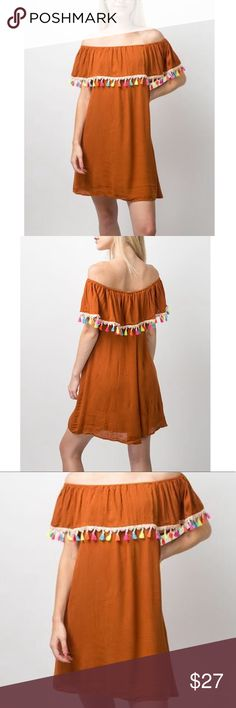 Texas Burnt Orange off the shoulder dress Brand new with tags attached. Beautiful and perfect for the upcoming months. entro Dresses