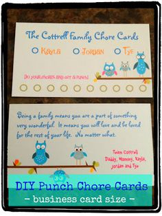 Do your chores and get a punch (hole punch that is)! This is a great way to reward your child for helping at home! Chore Cards reinforce the importance of working together and helping out.Doing this right now on my home computer! 4 Kids, Busy Kids, Children, Chore Rewards, Chore Chart Kids, Chore Charts, Activities For Kids, Crafts For Kids, Chores For Kids