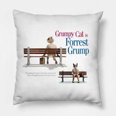 Shop Forrest Grump cat pillows designed by hoganfinland as well as other cat merchandise at TeePublic. Grump Cat, Cat Merchandise, Cat Pillow, Pillow Design, Pop Art, Cushion, Throw Pillows, Gift Ideas, Cats