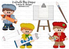 Little Artist Boys  Original Artwork by Kristi W Designs  www.kadoodlebugdesigns.com