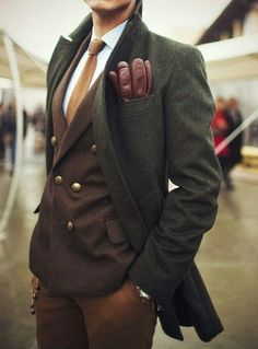 London man about town - Fashion, pocket for gloves and double breasted