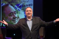 Former First Minister Alex Salmond on stage at the Assembly Rooms in Edinburgh. Picture: PA