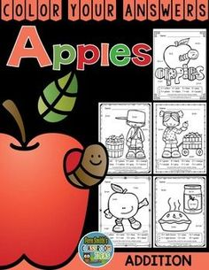 Color By Numbers Apple Addition - Color Your Answers Printables for some Math Fun in your classroom! #TPT #FernSmithsClassroomIdeas