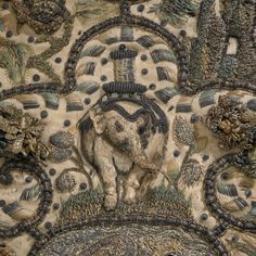 detail from Embroidery: Orpheus charming the animals, English, silk, metal… Textile Tapestry, Textile Fiber Art, Tapestries, Embroidery Patterns, Hand Embroidery, Embroidery Techniques, Casket, 17th Century, Flower Art