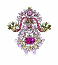 Broche en oro, platino, perlas, diamantes, safiros y garnets  ca. 1893-5 -Tiffany