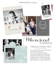 Whimsical Wishes Christmas Card Templates by Jamie Schultz Designs