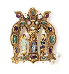 The Founder's Jewel, given to New College Oxford by William Wykeham in 1404 Renaissance Jewelry, Medieval Jewelry, Ancient Jewelry, Medieval Art, Unusual Jewelry, Old Jewelry, Antique Jewelry, Vintage Jewelry, Fine Jewelry