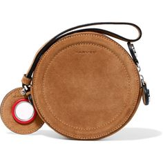 Carven Eyelet-embellished suede pouch (2,670 MXN) ❤ liked on Polyvore featuring bags, handbags, clutches, bolsos, torbe, tan, tan purse, suede pouch, brown pouch and zipper pouch