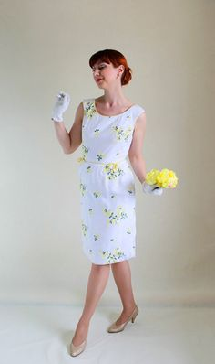 Sale 1950s Wiggle Dress White Yellow Floral Fashion by gogovintage, $98.00