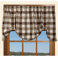 "Plymouth Buffalo Plaid Valance in Blue, Red & Natural. 50""w x 21""l $19.99. To Order Call toll-free 877-722-1100"