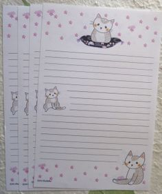 letterpaper / kitty chillin by PuchiMo on Etsy