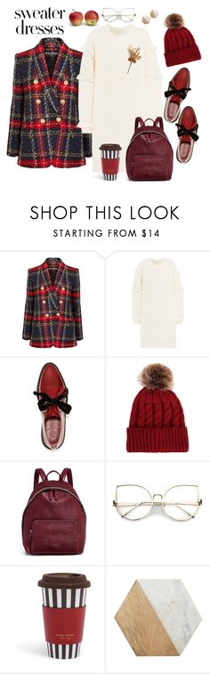 """Sweater dresses"" by tekla-pototska ❤ liked on Polyvore featuring Balmain, MICHAEL Michael Kors, Marc by Marc Jacobs, STELLA McCARTNEY, Henri Bendel and Jayson Home"